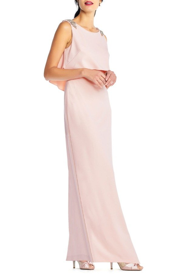 Adrianna Papell Embellished Crepe Popover Blush Gown Dress