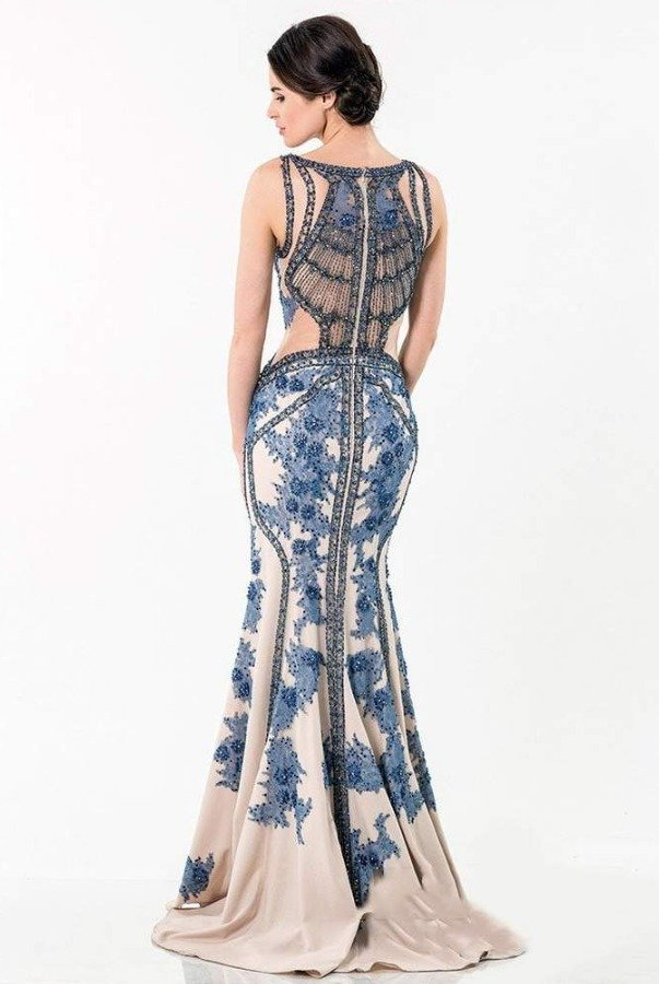 Terani Couture Blue Nude Embellished Mermaid Gown 1521GL0787A