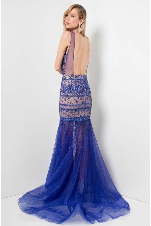 Terani Couture 1712P2493 Blue Beaded Prom Dress Pageant Gown