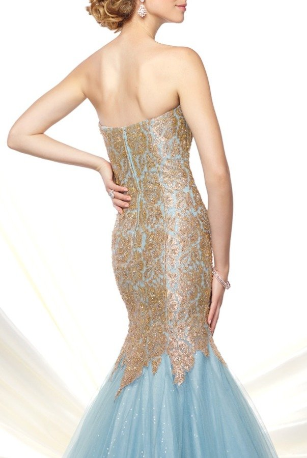 Mon Cheri 116D21 Aqua Gold Mermaid Evening Gown Dress