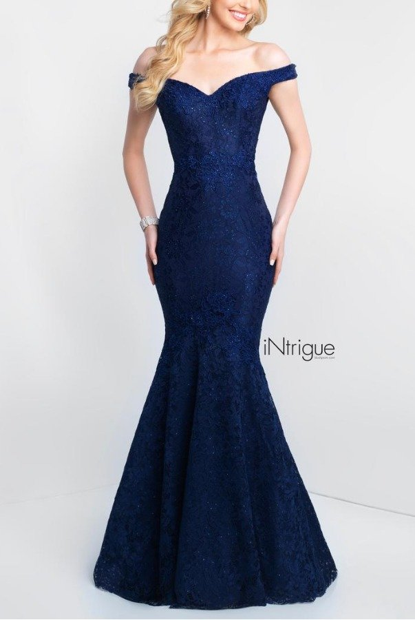 Blush Prom 425 Navy Blue Off Shoulder Mermaid Gown