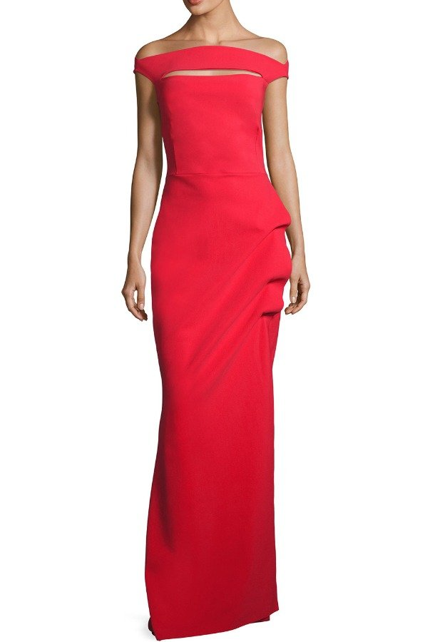 Chiara Boni  Red Off the Shoulder Jersey Trumpet Gown
