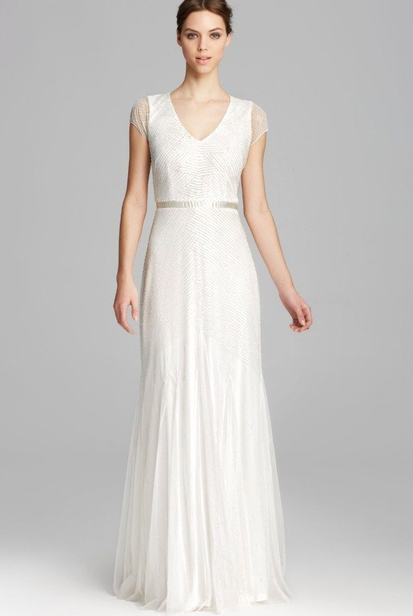 Adrianna Papell Off White V Neck Beaded Wedding Dress Evening Gown