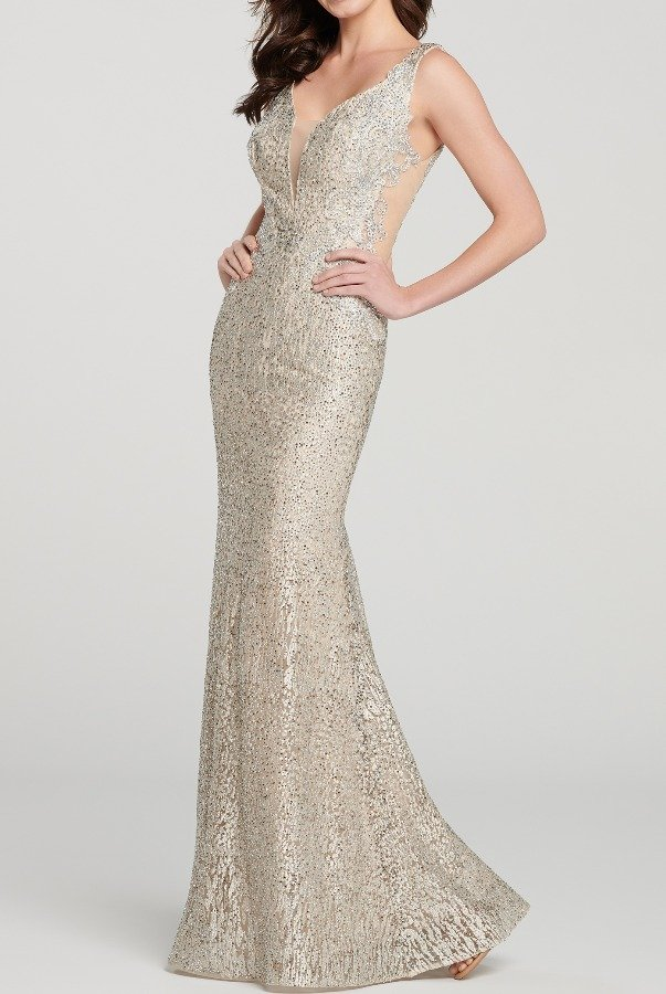 Ellie Wilde EW119080 Champagne Gold Beaded Evening Formal Gown