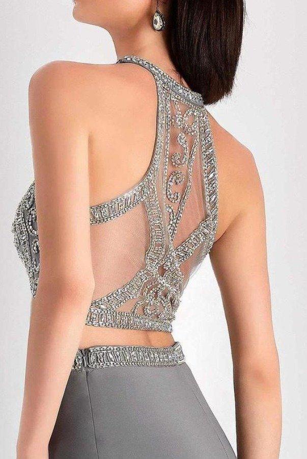 Clarisse S3006 Crystal Embroidered Halter Two Piece Dress