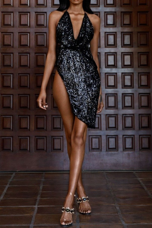 Abyss by Abby Power Black Sequin V Neck Sexy Cocktail Dress