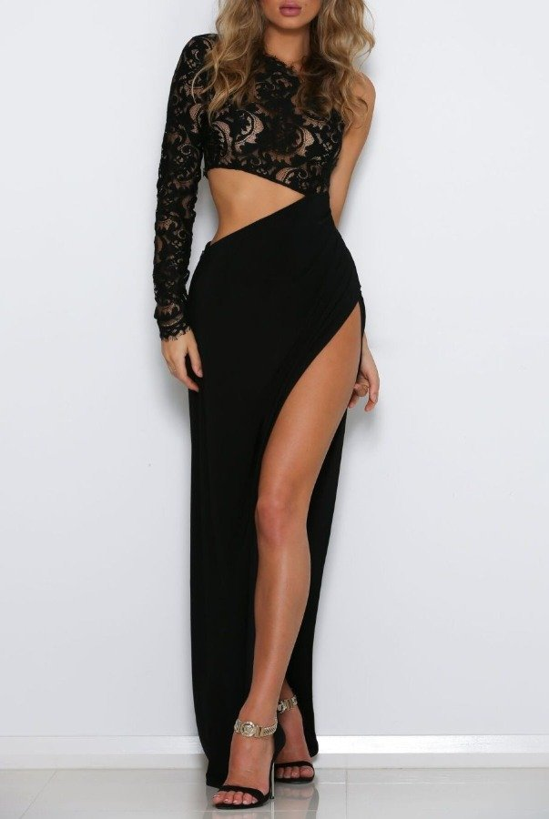 Abyss by Abby Josette Black Cutout One Sleeve Gown Evening Dress