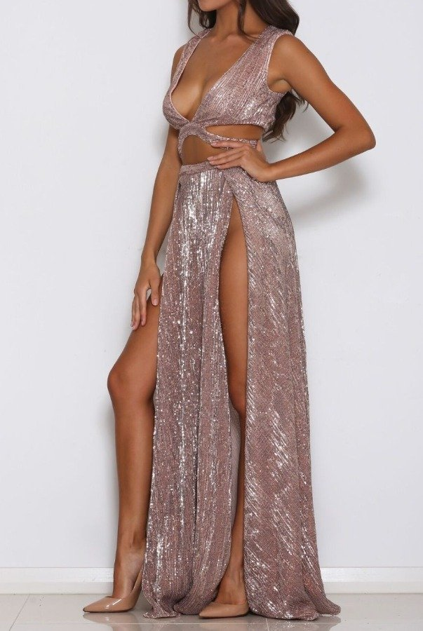 Abyss by Abby Rose Gold Sequined  Mia Dress Gown