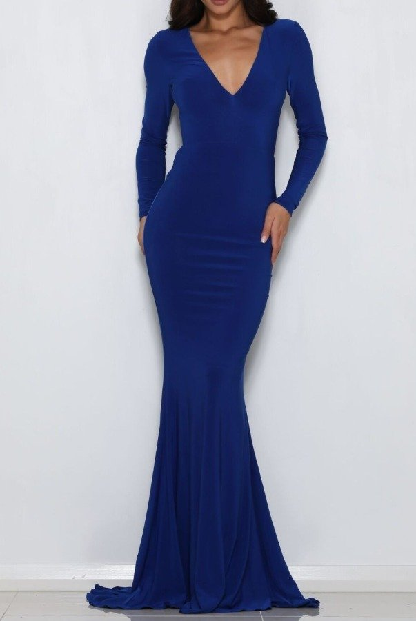 Abyss by Abby Moet Blue Long Sleeve Backless Gown evening Dress