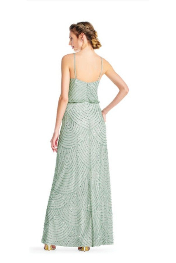 Adrianna Papell Beaded blouson Gown Bridesmaid Mint Mist
