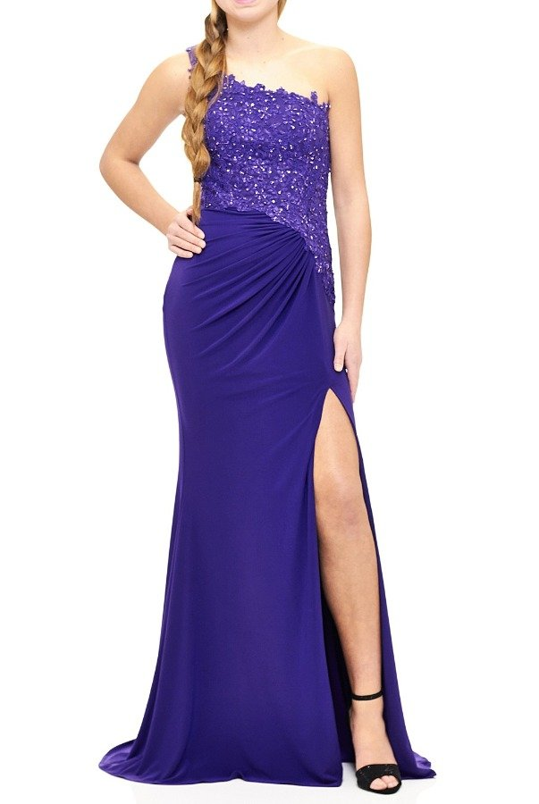 Milano Formals E1903 Purple Beaded One Shoulder Evening Gown