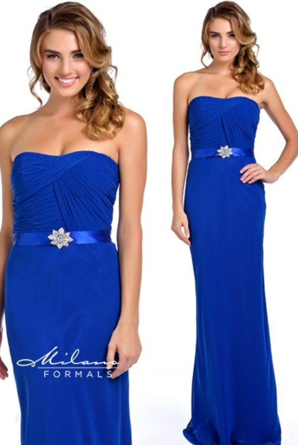 Milano Formals Royal Blue Ruched Strapless Gown Prom Dress Sale
