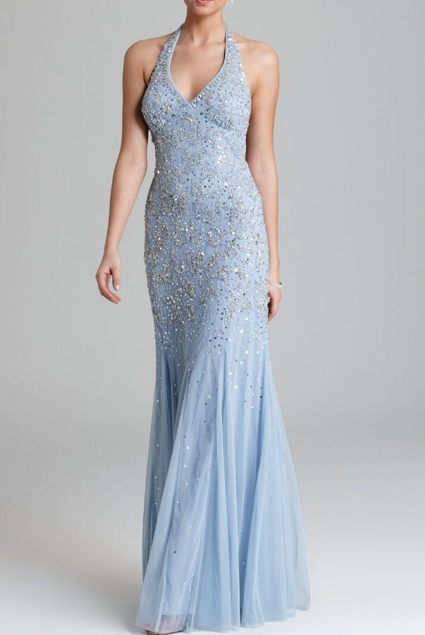 Adrianna Papell Light Blue Silver Beaded Open Back Gown Prom Dress