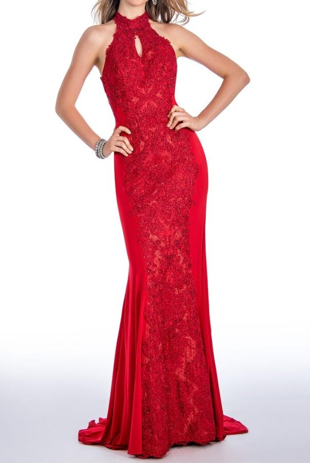 Stella Couture 18023 Red Beaded Halter Evening Gown Prom Dress