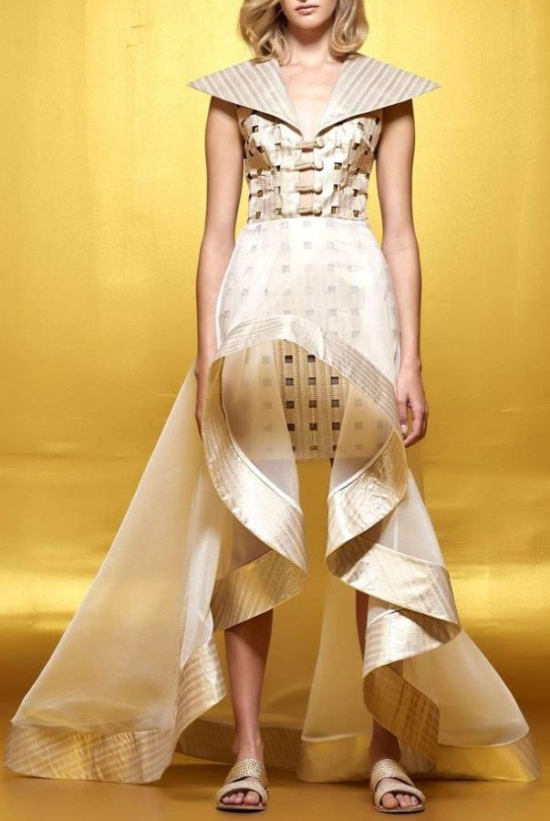 John Paul Ataker Metallic Jacquard Laser Cut Organza Dress JPA 1639