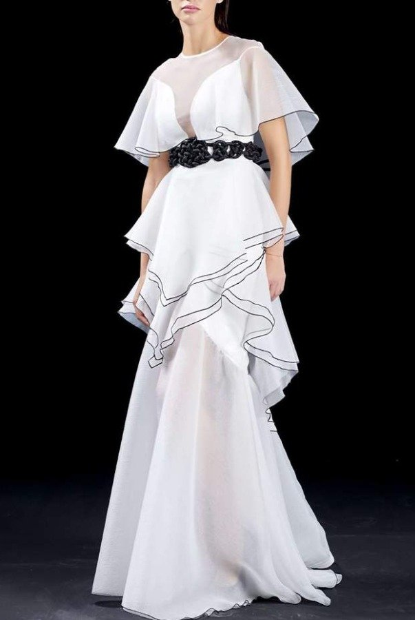 John Paul Ataker White Ruffled Organza Long Dress JPA 1531