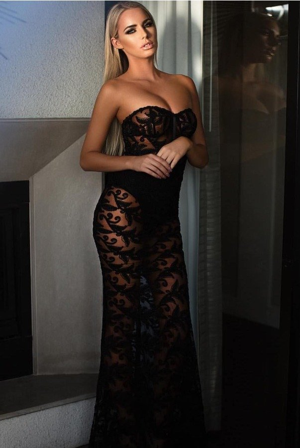 Abyss by Abby Black Sheer Lace Evening Gown Lori Dress