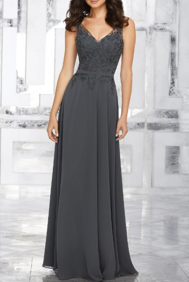 Mori Lee Beaded Chiffon Grey Charcoal Evening Dress