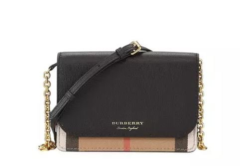 Burberry Hampshire Check/Leather Wallet On A Chain