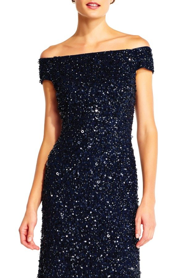 Adrianna Papell Off Shoulder Beaded Gown Navy  MOB Bridesmaid Prom