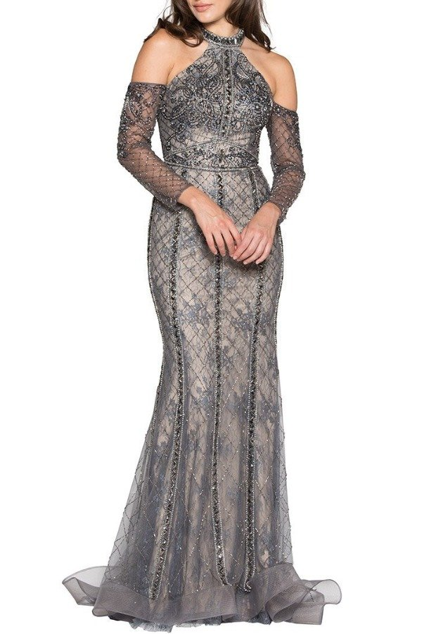 Colors Dress J065 Jeweled Silver Halter Diamond Evening Gown