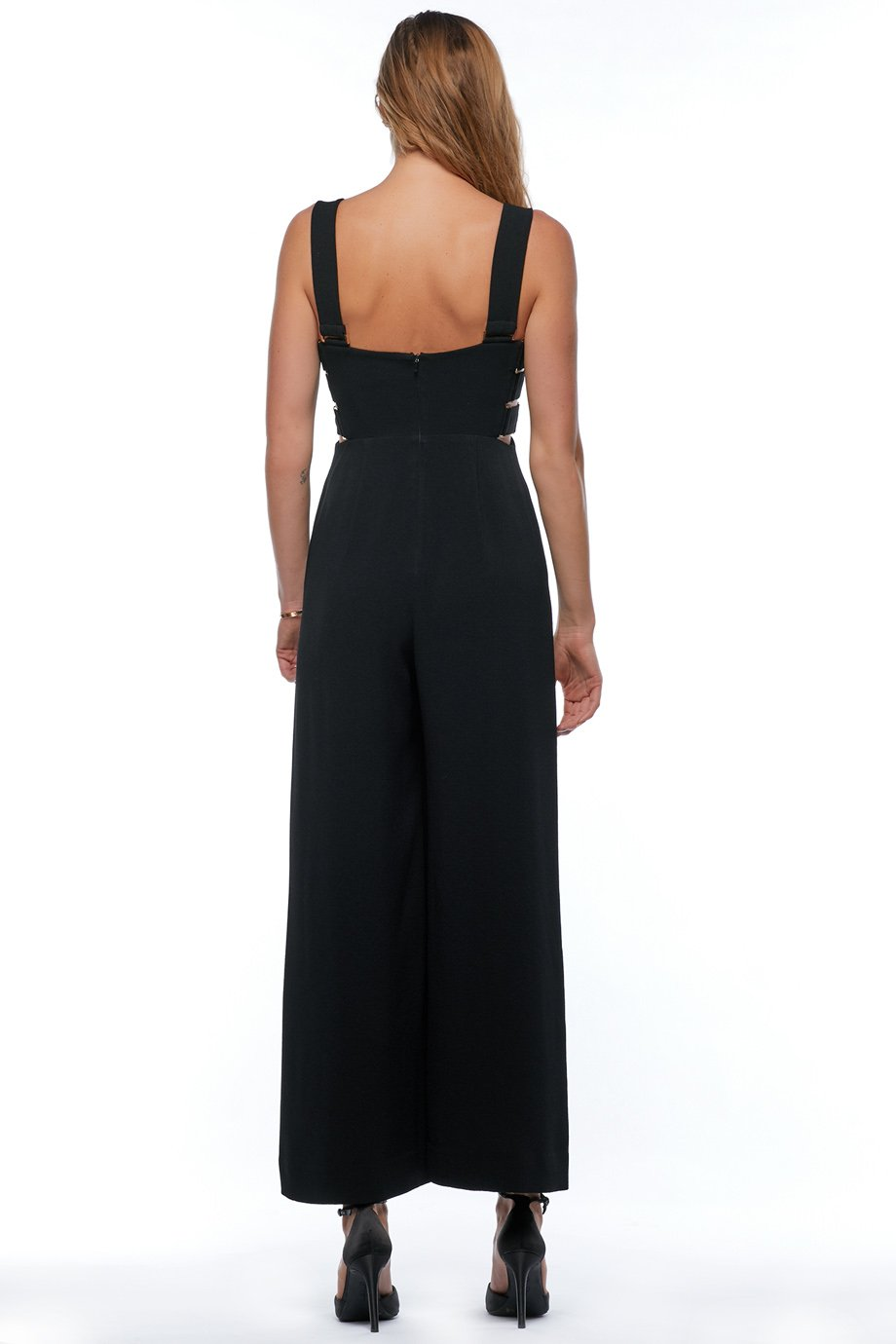 Zimmermann Black wide leg jumpsuit with cut out sides