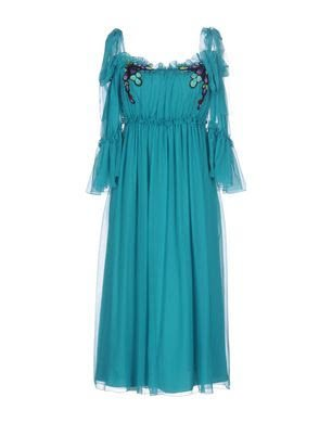 Alberta Ferretti Romantic Off Shoulder Sea Blue Midi Dress