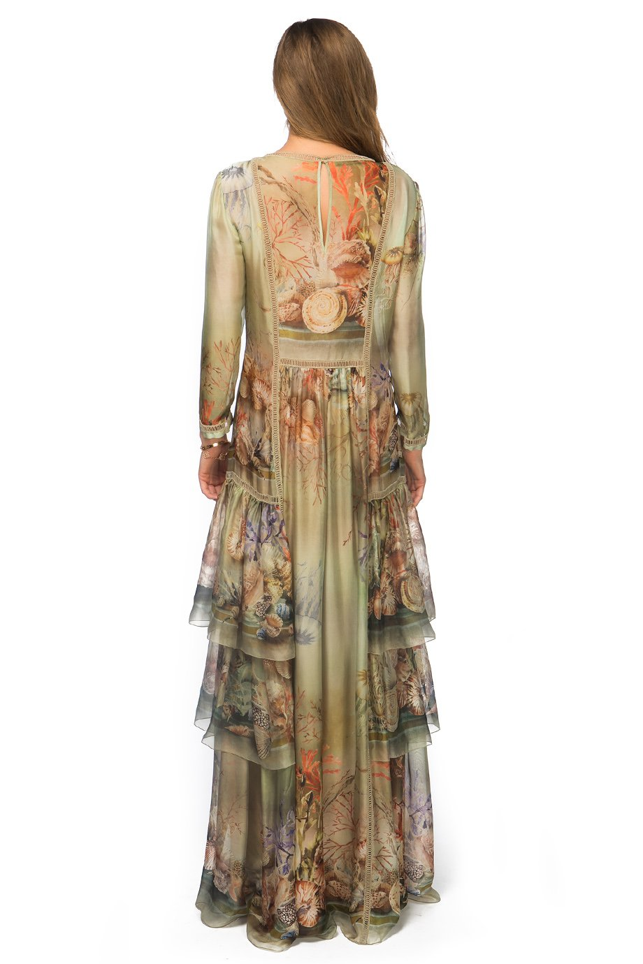 Alberta Ferretti Olive Nude Seashell Long Sleeve Tiered Dress