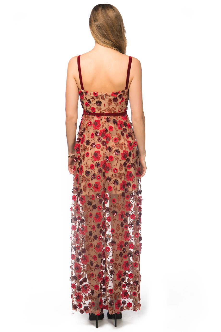 For Love and Lemons Floral Bustier Top Velvet Trim Maxi Dress