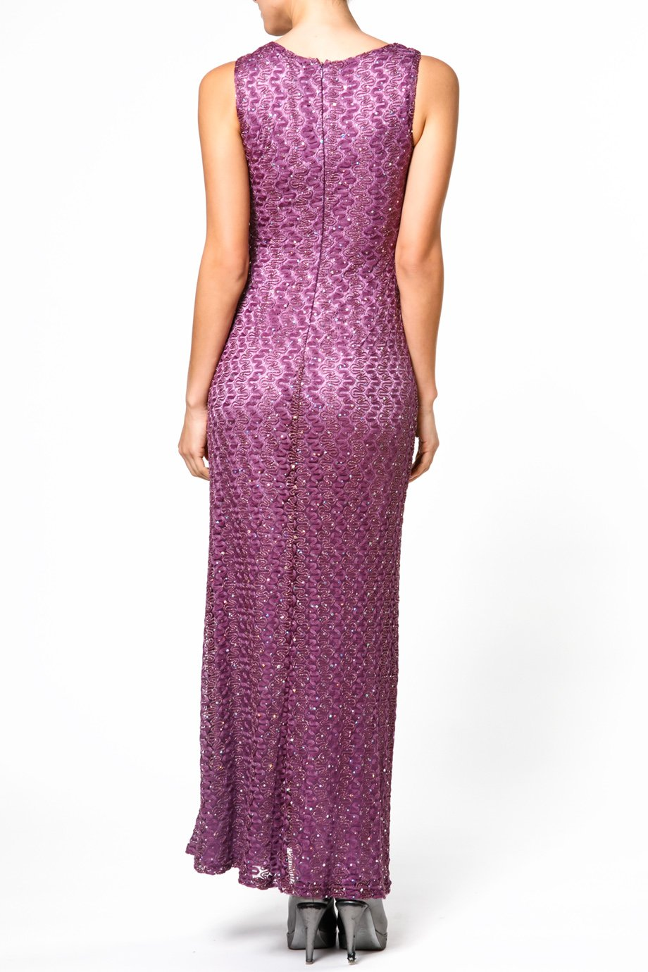 David Meister Purple Sparkle Sleeveless Knit Gown