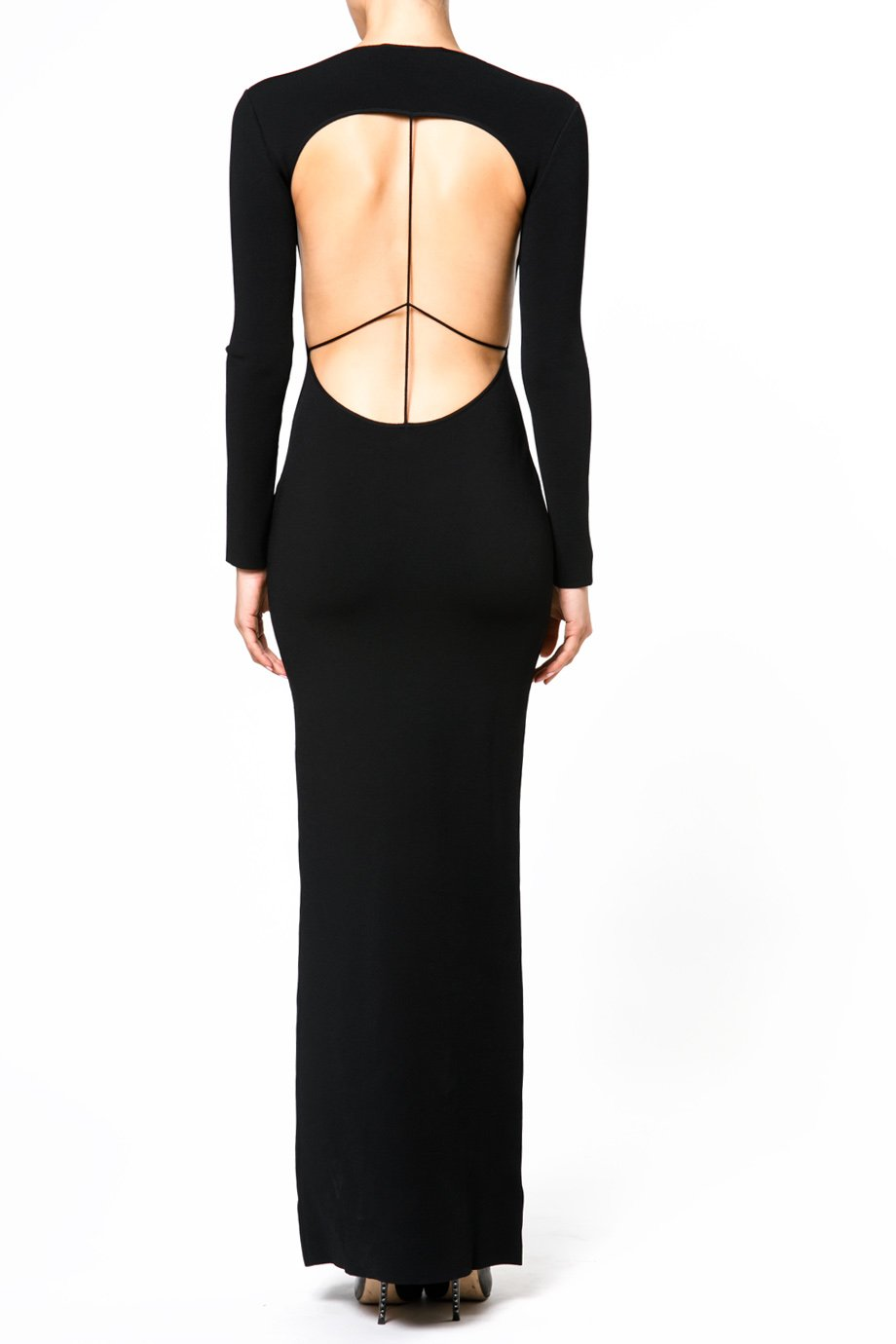 Esteban Cortazar Peace Sign Open Back Stretch Maxi Dress
