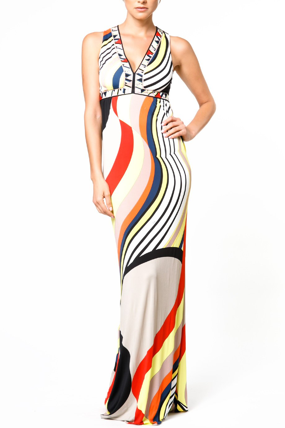 Emilio Pucci Abstract Printed V Neck  Jersey Gown