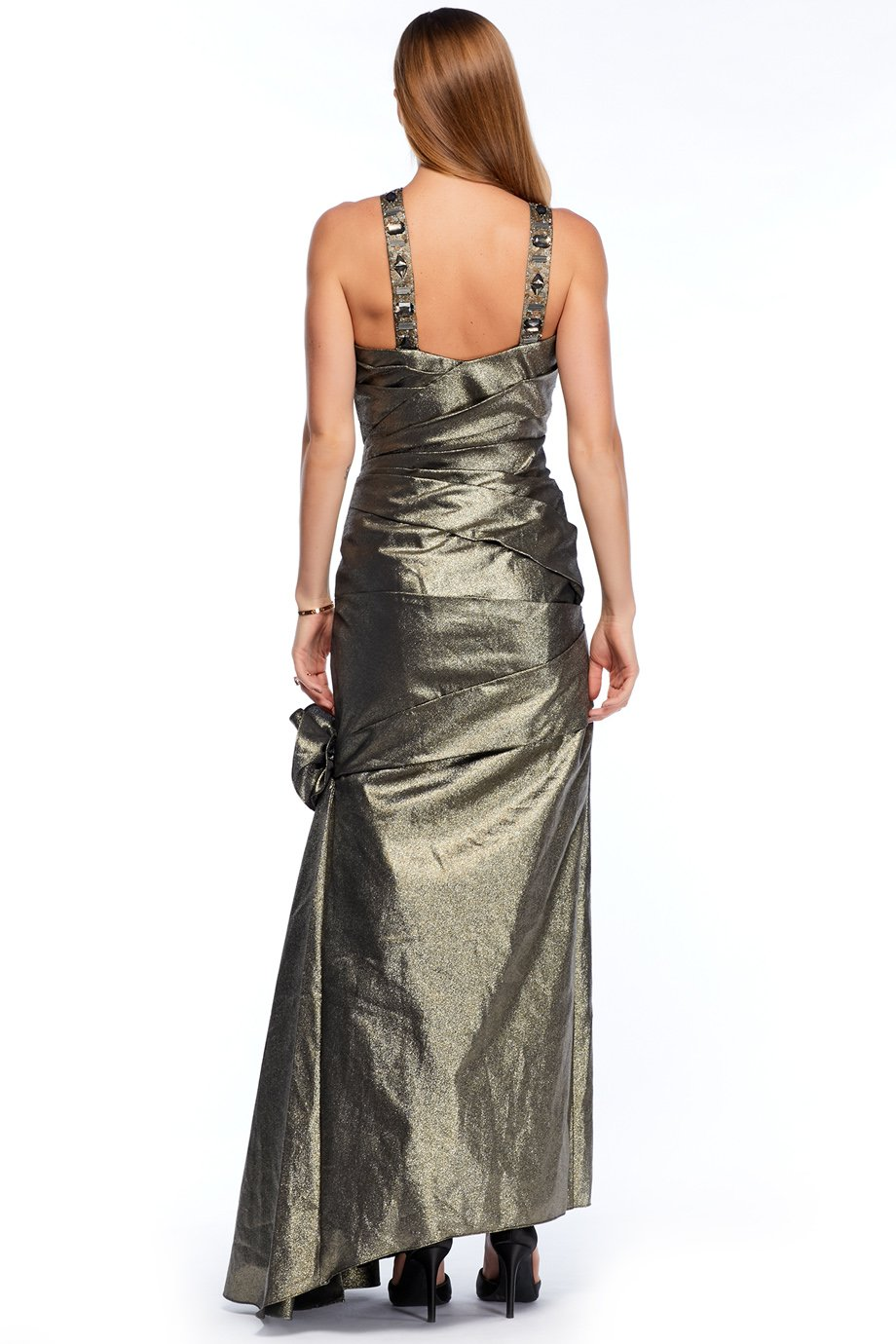 Monique Lhullier Metallic Grey Mermaid Gown