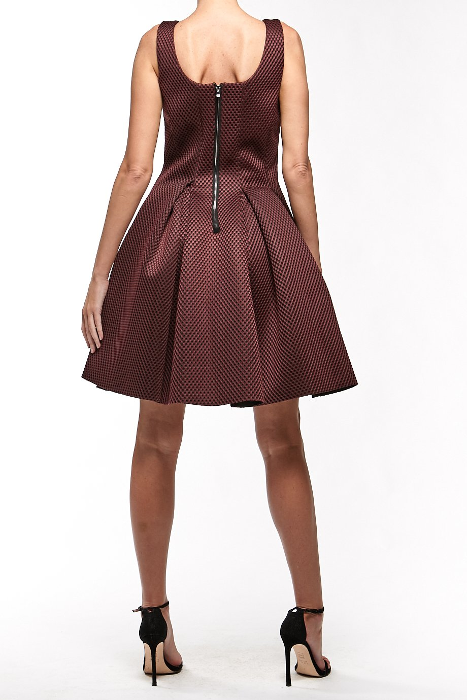 Maje Burgundy Mini Pouf A Line Mesh  Cocktail  Dress