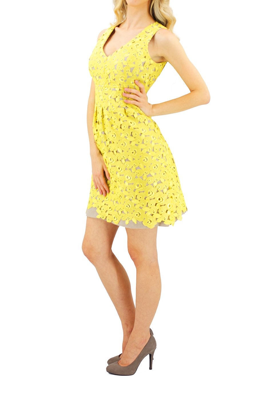 Lela Rose Short Yellow Embroidered Dress
