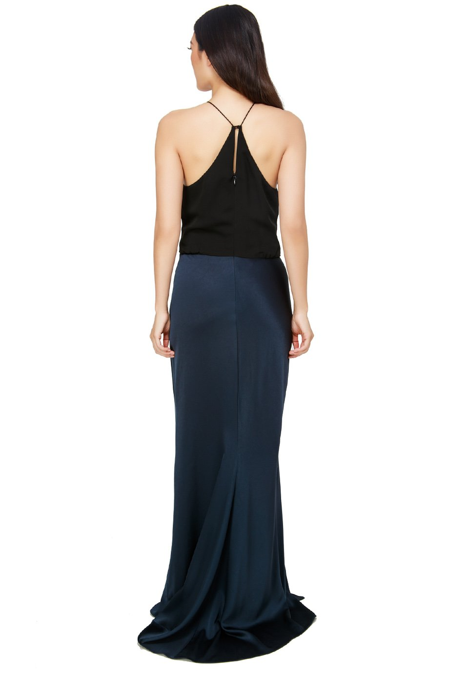 Halston Heritage Navy Blue Twist Drape Georgette Satin Gown