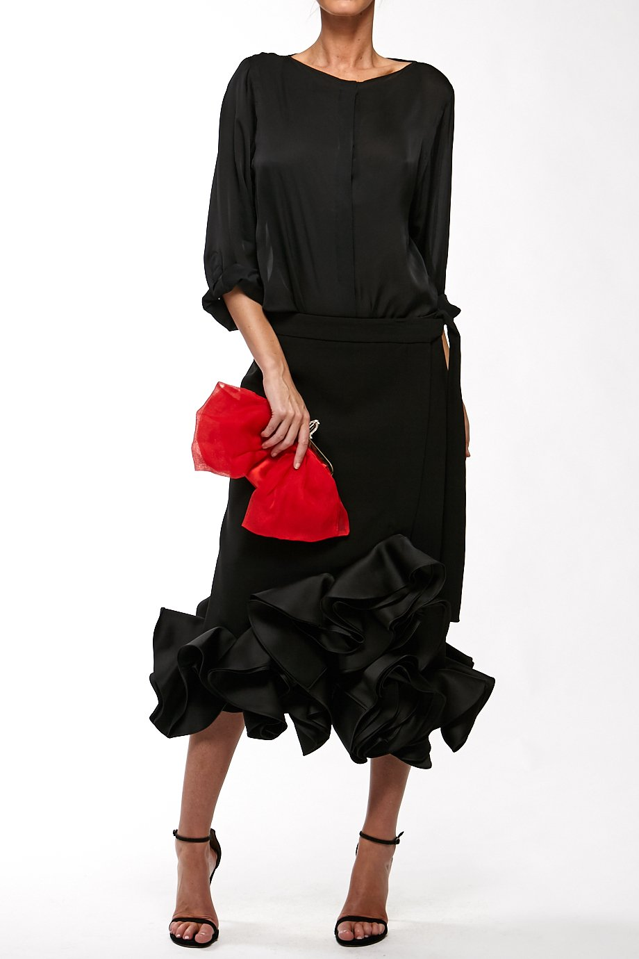 Victoria Beckham Black Ruffled Long Sleeves Mermaid Skirt Dress