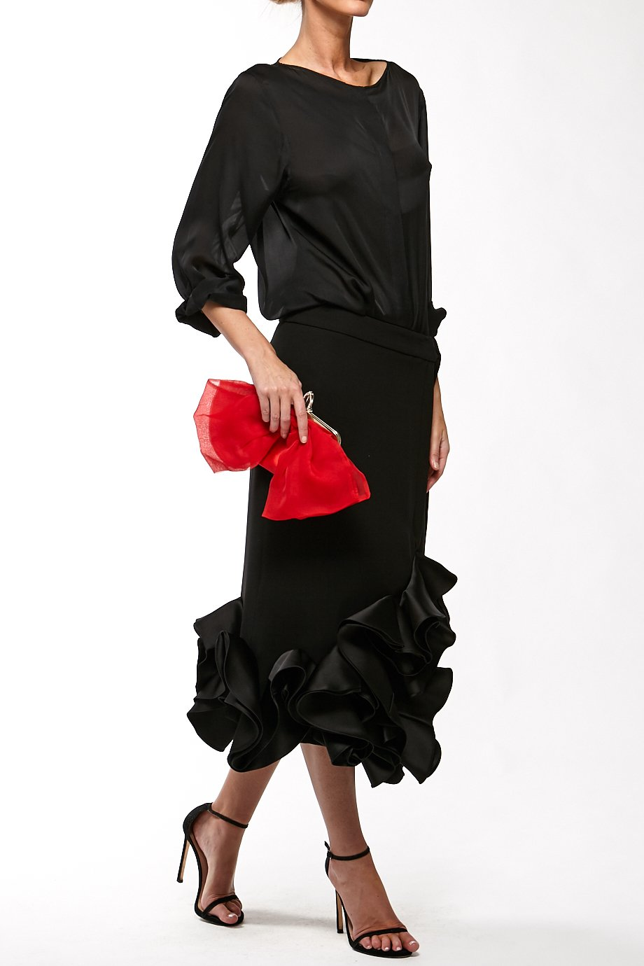 Victoria Beckham Black Ruffled Mermaid Skirt