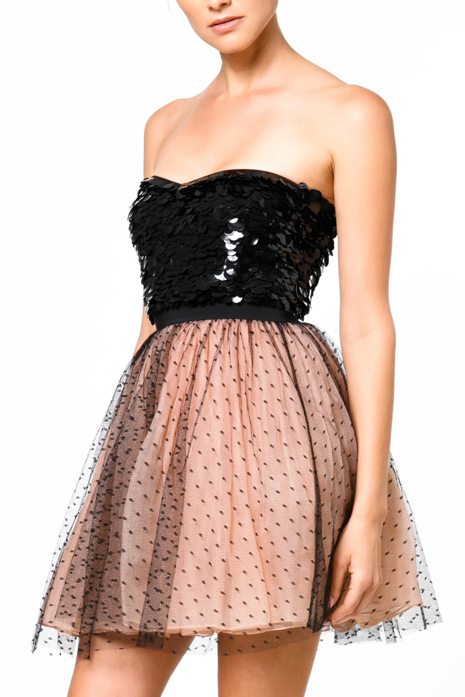 Red Valentino Nude Black Strapless Polka Dot Tule Cocktail Dress