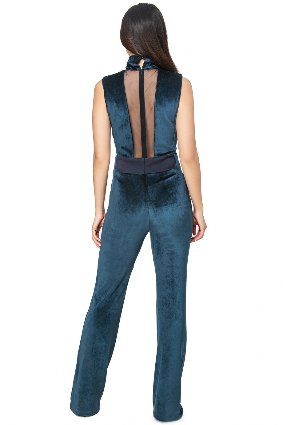Galvan London Blue Velvet Mesh Panel Sleeveless Jumpsuit