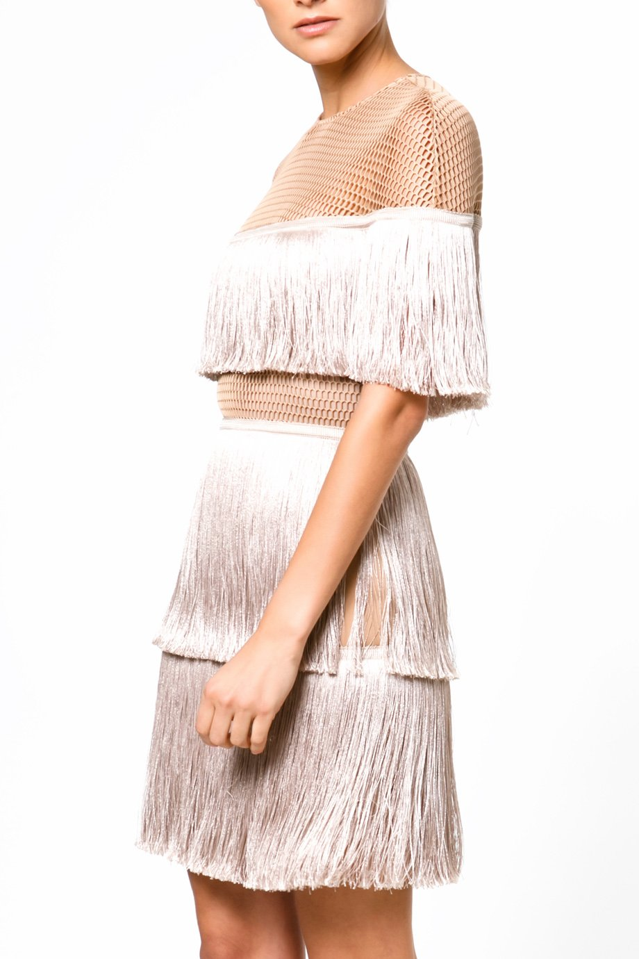 Vatanika Metallic Ivory  Short Sleeve Fringe Cocktail Dress