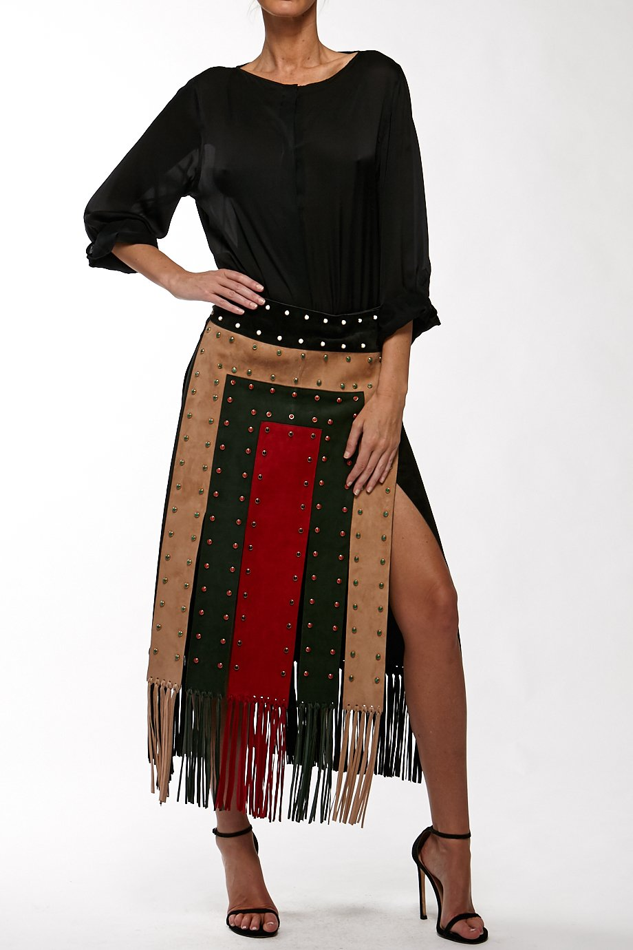Valentino Black Velvet Tricolor Fringe Skirt Dress