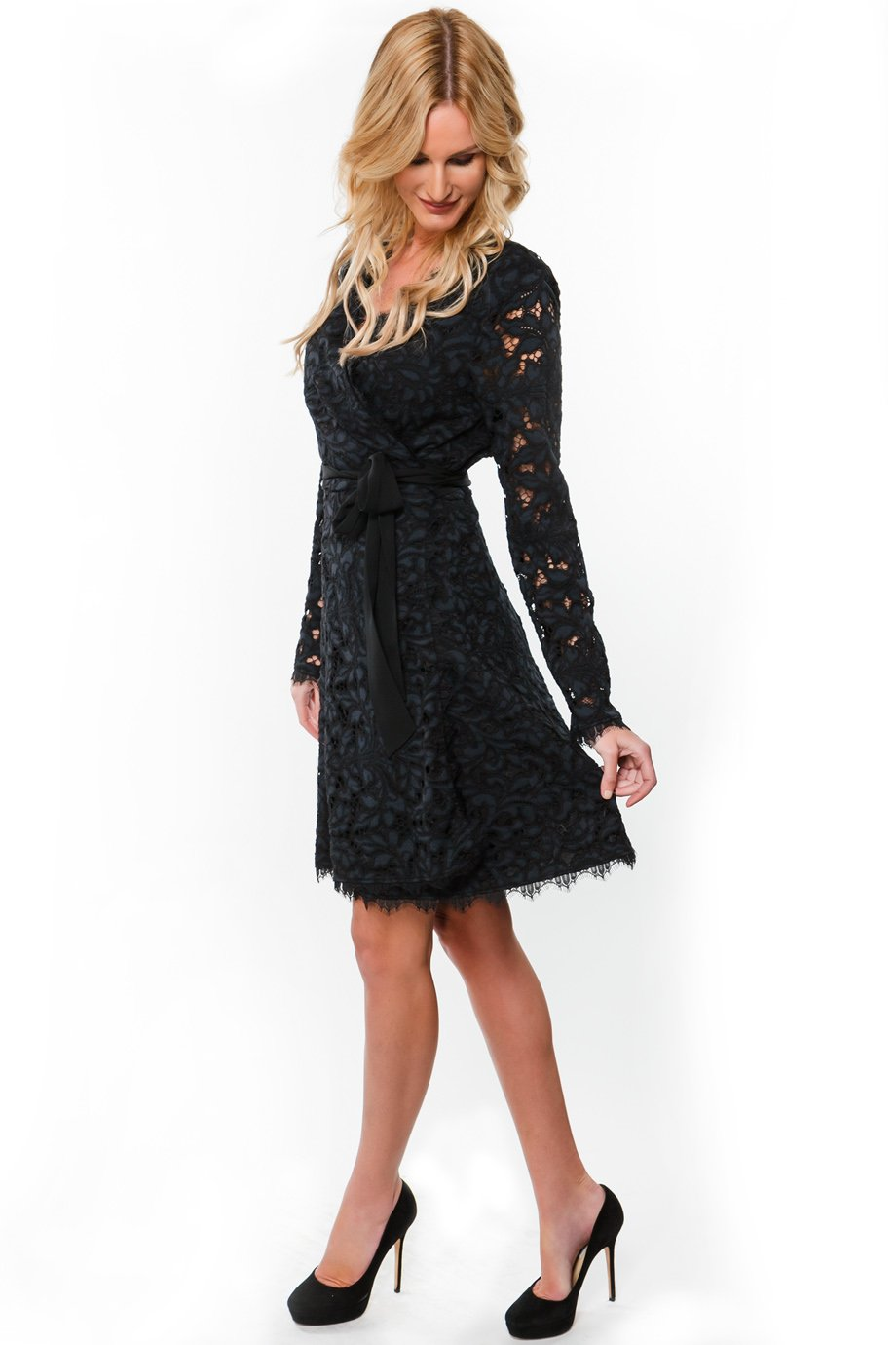 Diane von Furstenberg Black Lace Wrap Scalloped Trim Dress