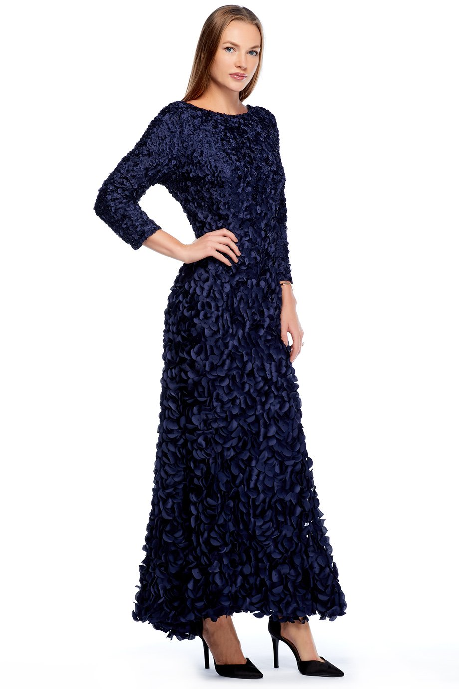 theia Navy Petal Flower Patch Stretch Gown