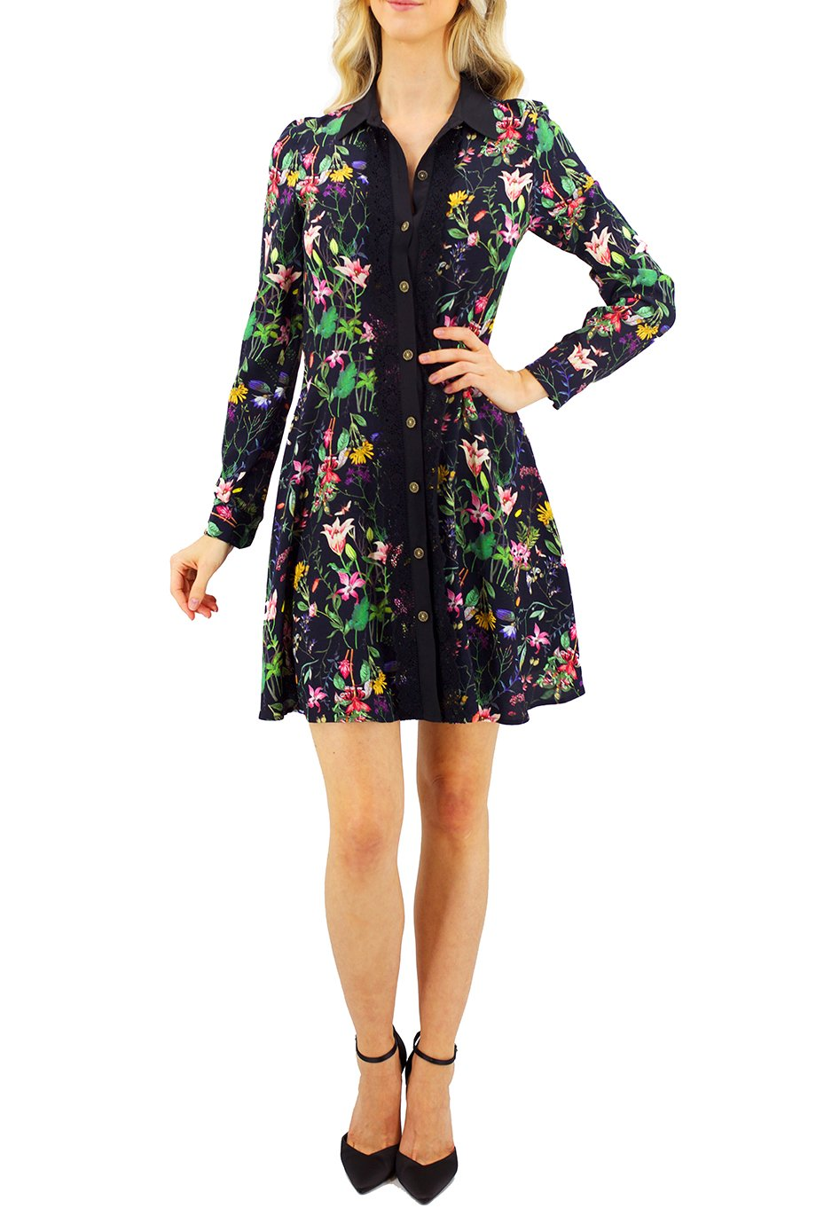 The Kooples Floral Long Sleeves Button Down Dress