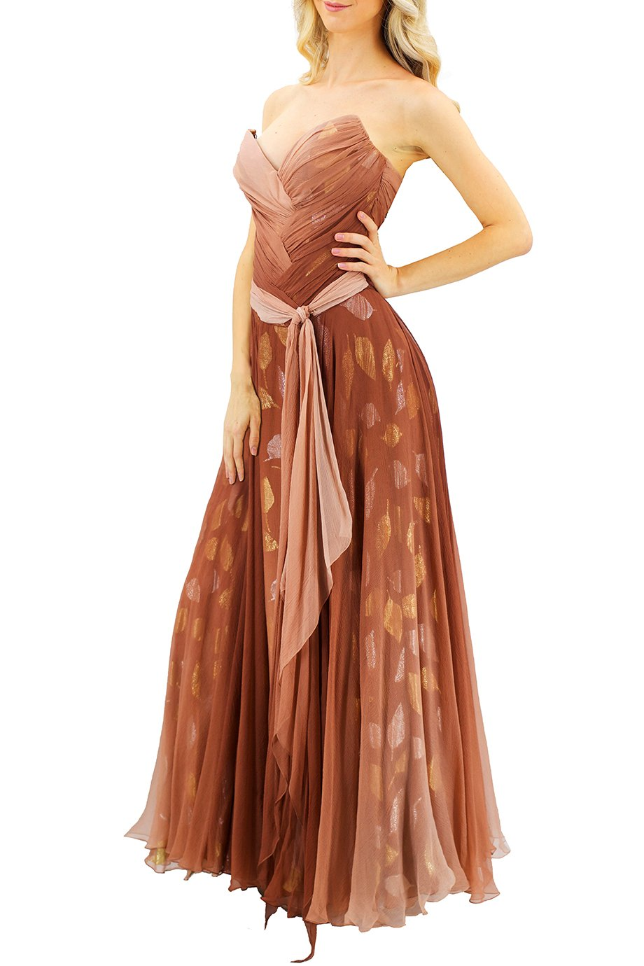 Bob Mackie Ombre Leaf Strapless Gown
