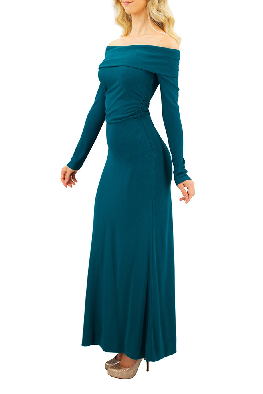 Derek Lam Turquoise Green Bardot Off the shoulder Gown