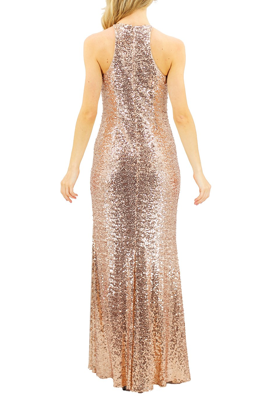 Badgley Mischka Gold Sequin Racerback Gown