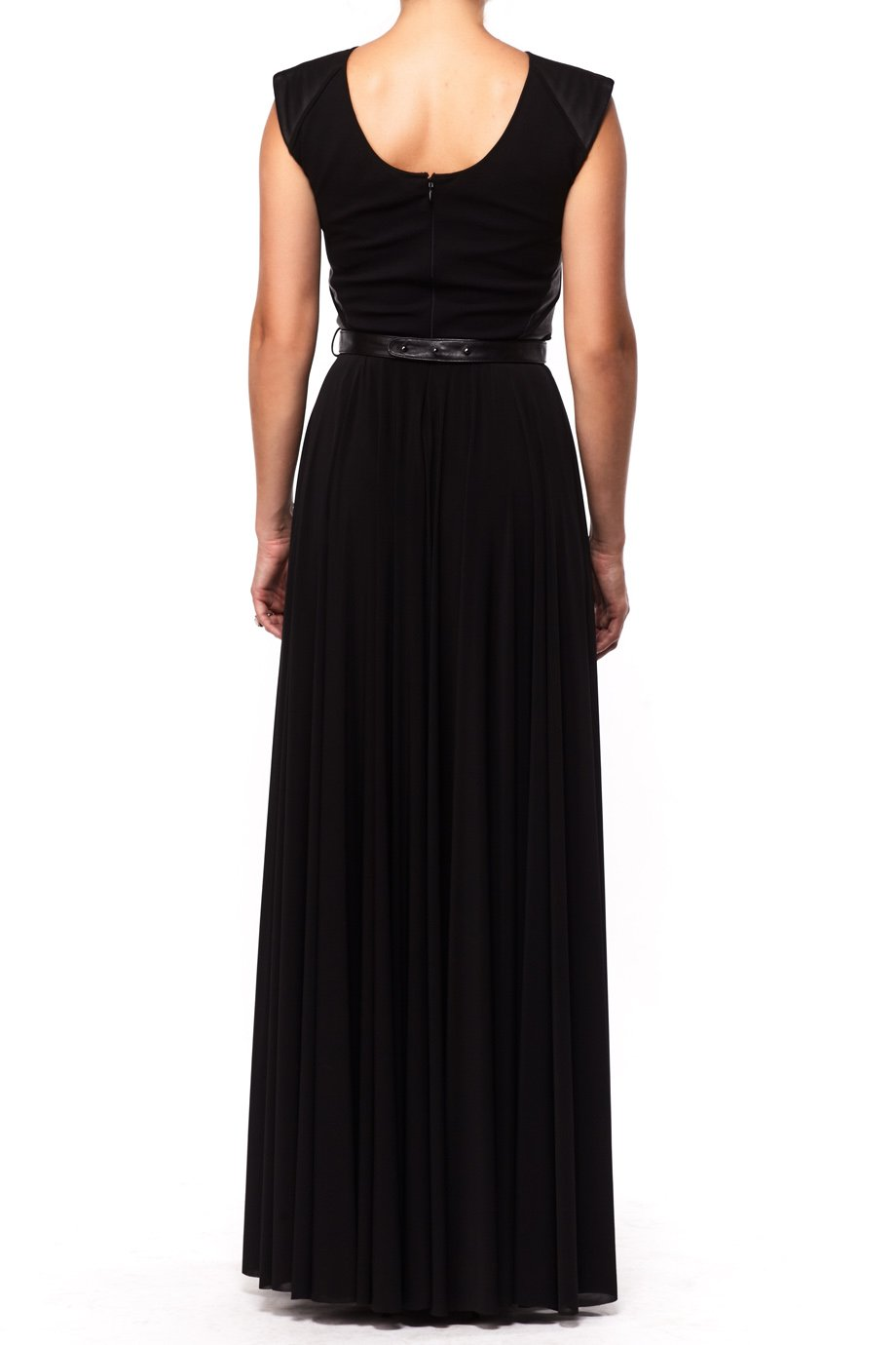 Catherine Deane Black Leather Bustier Belted Silk Gown