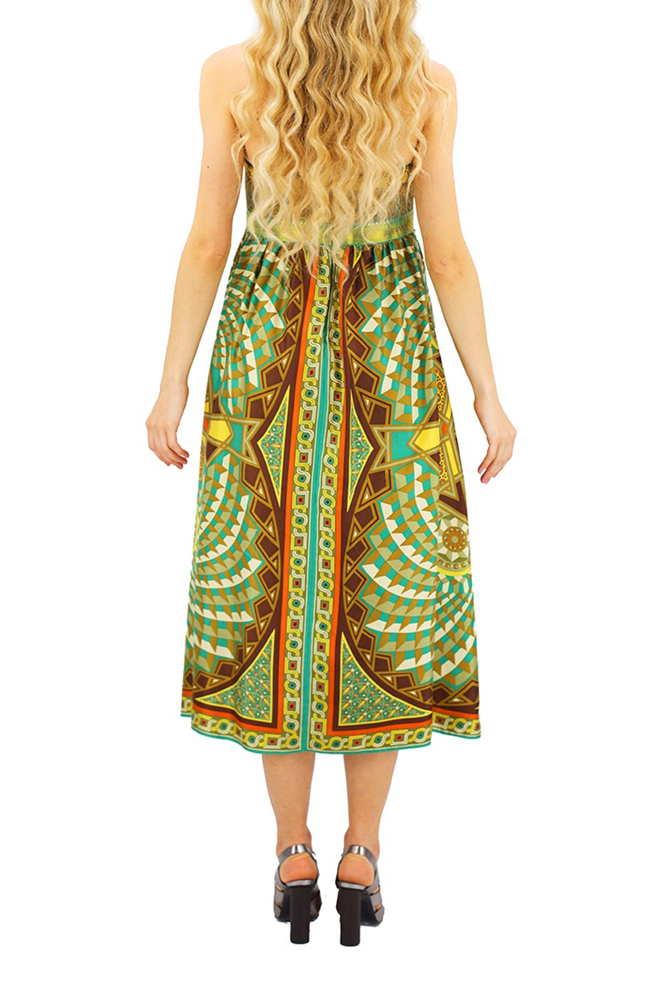 Nicole Miller Strapless Brown and Green Geometric Print Dress